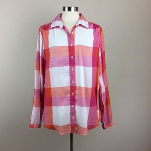 Crown & Ivy orange and pink Plaid Blouse